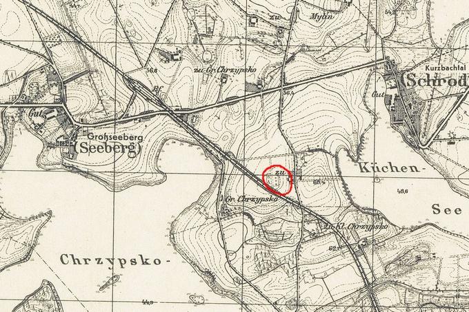 Mapa z1944 roku, naktórejzaznaczono cmentarz