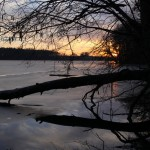 Zachód słońca nad jeziorem Lusowskim