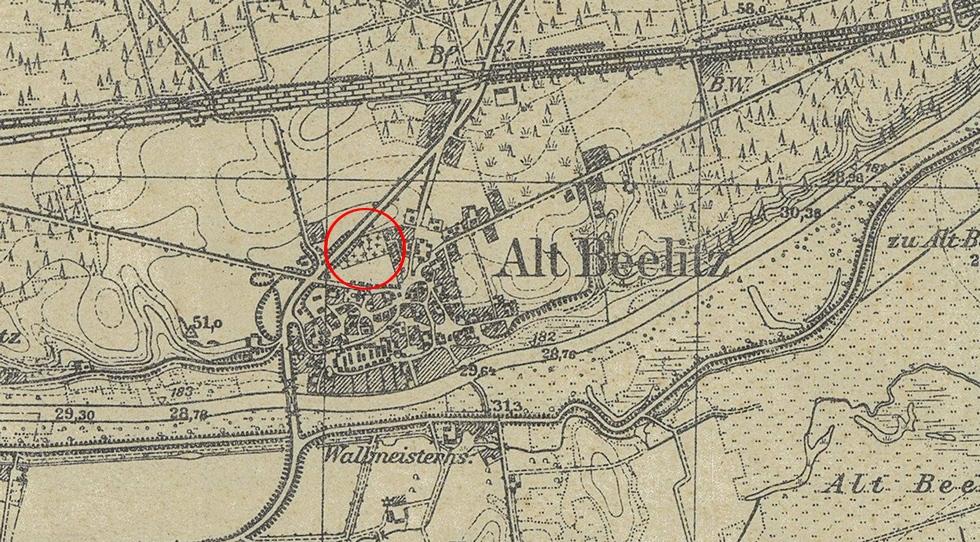 Wycinek mapy z1940 roku, czerwonym okręgiem zaznaczono położenie cmentarza